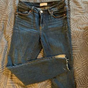 Crop jeans with split hem